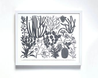 Large Print -  10 Cactus Screen Print -Charcoal Gray