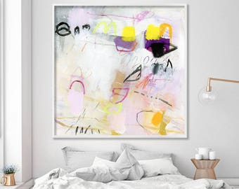 Abstract Painting Print, Large wall art, Pastel Pink Painting, Large Abstract art above bed, Pink Canvas Print 40x40, Duealberi