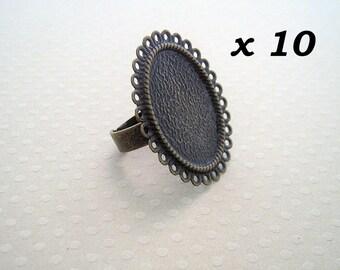 18x25 - 10 supports bague dentelle bronze pour cabochon env.18x25 mm - L109955