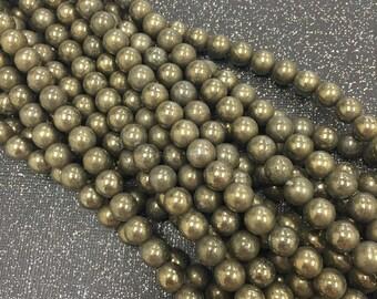 "8mm Pyrite Round, Pyrite Round Beads, 8mm Pyrite Beads, 15"" Strand, Round Pyrite Beads, Pyrite Beads, Pyrite Stone Beads, 8mm Pyrite Stones"