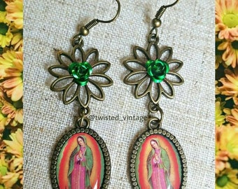 Virgen de Guadalupe Virgin Mary Religious Earrings - green