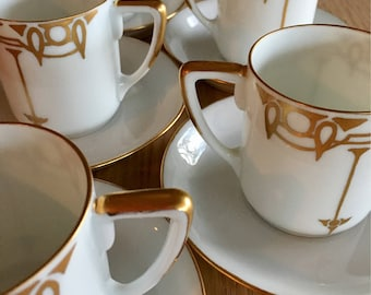 Art Deco Rosenthal China demitasse / mocha cup and saucer in Isolde shape circa 1920s or 30s