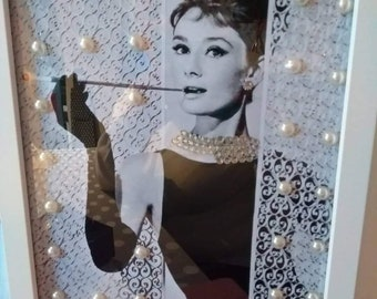 Audrey Hepburn picture in rectangle frame/embellished/pearls/gems/movie star/Hollywood/present/birthday/gift