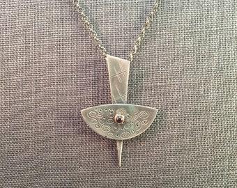 25% Off Modern Industrial Minimalist Garnet 14K Gold Sterling Silver Metalwork Necklace Pendant