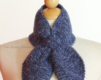 Knitted Neck Warmer Bow Scarflette Blue Navy