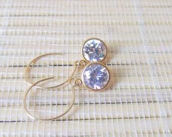 Cubic Zirconia Gold Fill Dangle Earrings April Birthstone 8mm