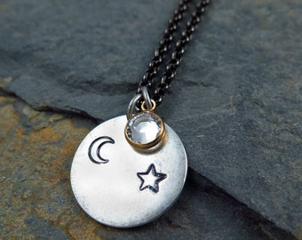 Star and Moon Necklace, Celestial Necklace, Moon Necklace, Hand Stamped Jewelry, Celestial Jewelry