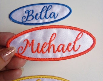 White Iron on Name Patch, Custom Embroidered Name Patch, White Name Tag, Sew on Name Patch, Embroidered Name Tag, FREE SHIPPING