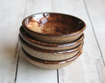 Prep Bowls - Set of Four Small Rustic Bowls - Brown and Black Raw Stone Ceramic Bowls - Handmade Stoneware Dipping Bowls - Specked Pottery