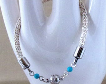 Wire Wrapped Bracelet, Silver Viking Knit Wire Bracelet Turquoise Beads