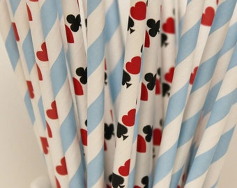 Alice In Wonderland Paper Straw Mix, Madd Hatter Party Straws, Queen of Hearts Party, Hearts Diamonds Spades Clubs Paper Straw, Casino Straw