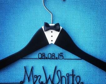 Groom's hanger with date Custom Wedding Hanger, Wedding hanger,  handmade personalized hanger, Custom hanger, Name hanger, tuxedo hanger