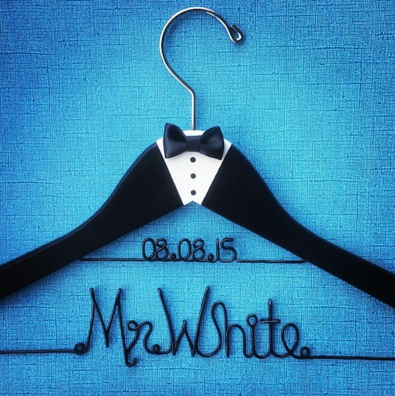 Groom\'s hanger with date Custom Wedding Hanger Wedding