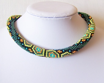 Bead crochet necklace with geometric pattern - Beaded rope necklace - Handmade jewelry - Beadwork - green, yellow, orange, black