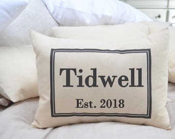 Personalized pillow, cotton anniversary, valentine gift idea, last name pillow, gift pillow anniversary pillow, wedding pillow, family gift,