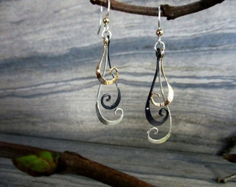 modern minimalist mixed metal dangle earrings gold filled sterling silver oxidized silver