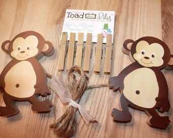 Pop Monkeys Wooden Wall Art DISPLAY CLIPS for Kids Bedroom Baby Nursery Playroom AC0043