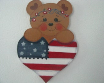 Patriotic bear magnet, 4th of July, July 4th, patriotic magnet, bear magnet, gift for her, hostess gift