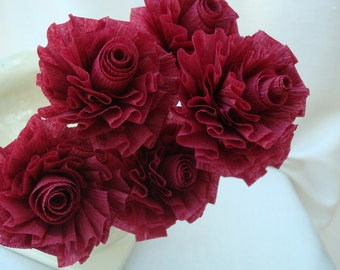 Wedding Crepe Paper Roses...Cranberry Burgundy Wine...7 ART DECO STYLIZED FLOWERS