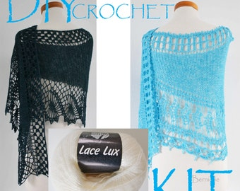 DIY Crochet Kit, Crochet shawl kit, Oswin or Julietta pattern, WHITE !!!!