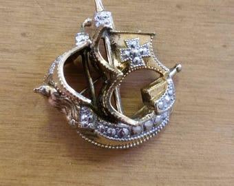 Vintage Ship Brooch