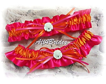 Beach Wedding Garters Sand Dollar Bridal Leg Garter Belt Set,  Hot Pink and Orange Bridal Accessories