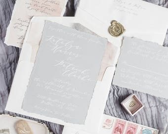 White Ink Calligraphy Natural Modern Wedding Invitation in Grey and Ivory — Envelope Liner, RSVP & Address Printing