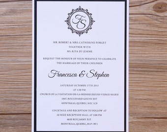 Black and white invitations, black and white wedding invitation, formal wedding invitations, formal invitation, traditional invitations