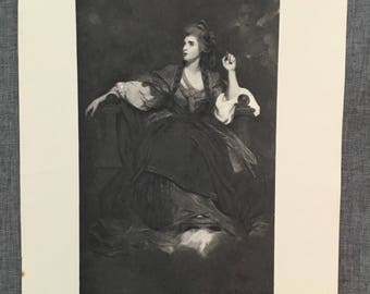 Reynolds. Mrs Siddons as the tragic muse. 1920's antique print