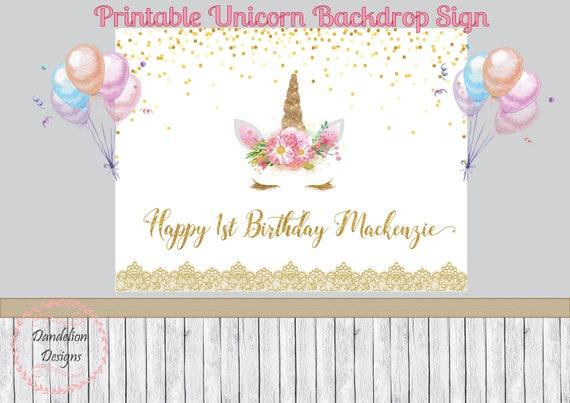 Unicorn Birthday Backdrop Unicorn Banner 1st Birthday