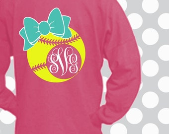 Softball SVG, Softball, bow, decal cut file, Softball shirt, Softball Monogram svg, Softball dxf, Softball mom, Softball shortsandlemons