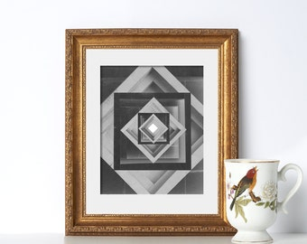 Geometirc Cube Art Digital Download Printable Art Minimalist Art Nordic Art Abstract Print Black and White Scandinavian Print Geometric Art