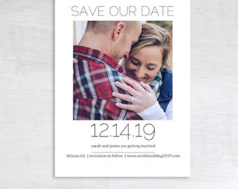 Customizable, Print at home save the date, printable save the date, save the date photo card, simple, classi
