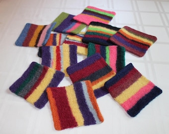 Striped Felted Coasters