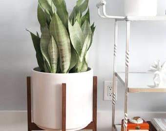 """Large Mid-Century Modern Planter with solid Wood Plant Stand - 12"""" Ceramic Pot"""