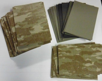 "50 Pieces Military  Camo and solid Card stock, 1/16"" Thick"