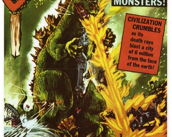 """Vintage Horror Science Fiction Movie Poster Print, 1954, Godzilla, King of the Monsters, PMSF 8"""" x 10"""""""