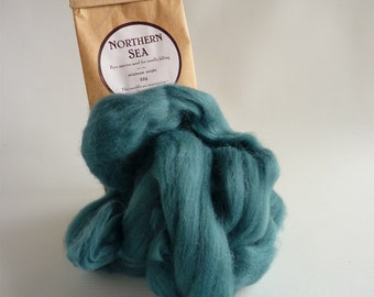 Teal Blue merino roving,  'Northern Sea'  25g, 1oz, 21 micron, merino roving, merino tops, felting wool, needle felt wool, wet felting wool