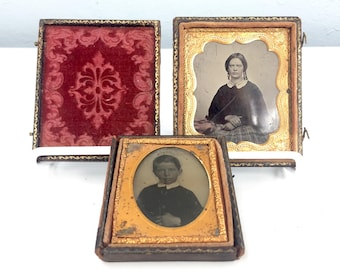 Antique Victorian Photography 1800s Tin Type Photo with Frame and Velvet, Daguerreotype