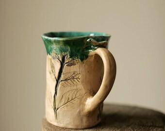 bright green mug for gardener mug green ceramic mug plant lover gift for plant lady mug herb mug