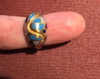 Vintage 18k solid gold/ enamel art-deco era ring 8.87 grams size 6 c1930s
