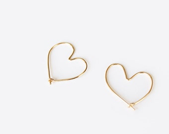 Open Heart Hoop Earrings - Hand Formed - Yellow Gold or Rose Gold or Silver - Amoretta