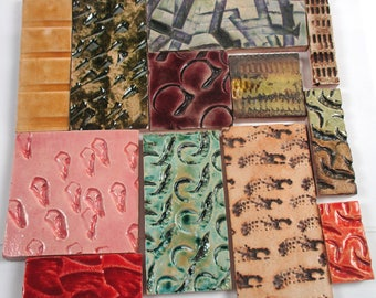Textured Patchwork Ceramic Mosaic Tiles - Mixed Colors And Textures - Handmade Ceramic Pottery Glazed Art Tiles Mixed Designs - Mosaic Art