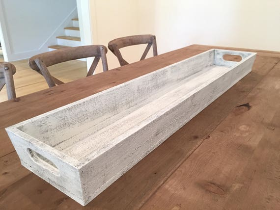 "Tray - Large 46"" - Wooden Long Tray l Table Centerpiece l Trough, Wooden Planter, Shabby Chic, Farmhouse Style Tray"