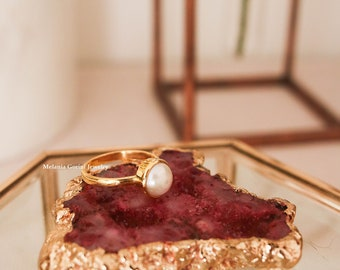 PEARL Ring - 925 sterling silver electroplated with 18K gold stackable ring - ring with natural pearl - stacking ring - band ring