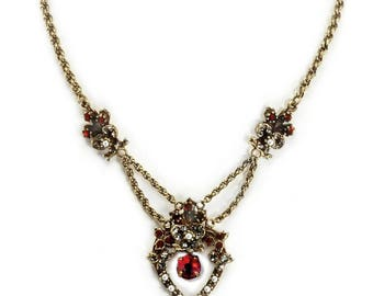 Red Crystal Victorian Heart Necklace, Vintage Bridal Necklace, Wedding Necklace, Bridal Jewelry, Red Jewelry, Victorian Jewelry, Pearls N958
