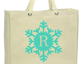 Snowflake Monogram Canvas Tote Bag, Large Holiday Shopping Bag, Natural, Reusable, Eco-friendly Tote - Letter in Many Colors