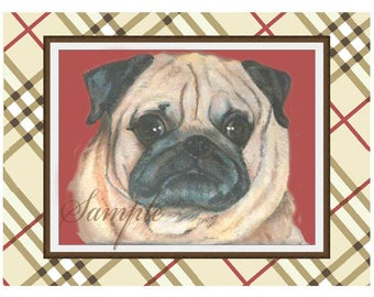Pug Plaid Red Beige Portrait Note Card with Envelope