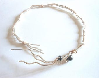 Two Tone Wire Torque Necklace-silver and gold