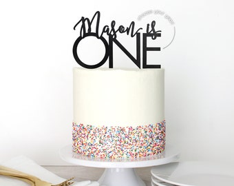 Personalized First Birthday Cake Topper | Custom Name Modern